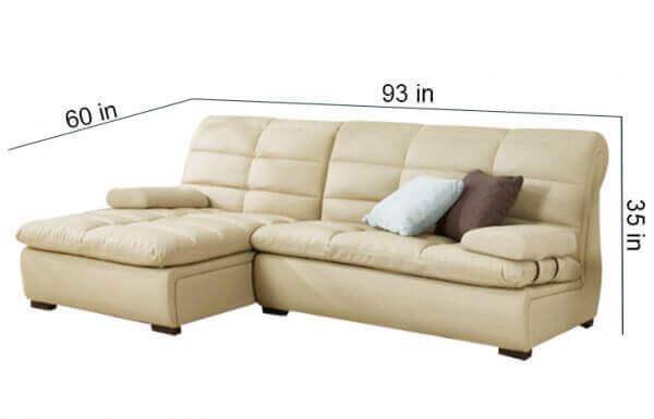 Cacia 4 Seater L shape Sofa size