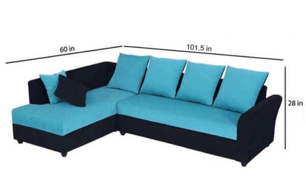 Charleen 6 Seater LHS L Shape Sofa set size