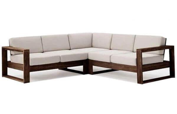 Corner Teakwood Sofa Set model