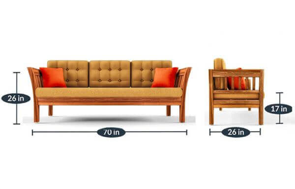 Elite 3 Seater Teakwood Sofa size