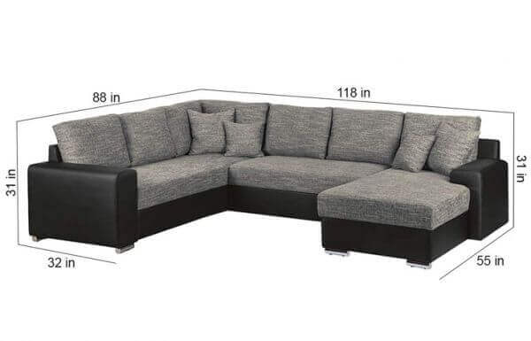 Elite 7 Seater U Shaped Sofa Set size