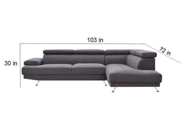 Elite L Shape Fabric Sofa Inches
