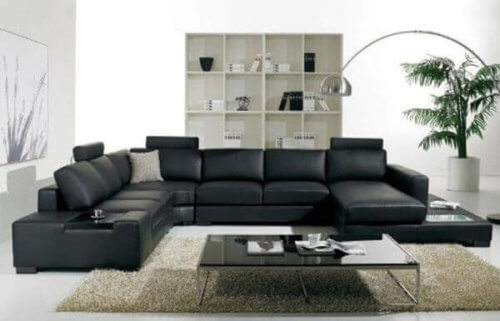 Elite Seven Seater U-shaped Sofa with Adjustable Headrest (Black)