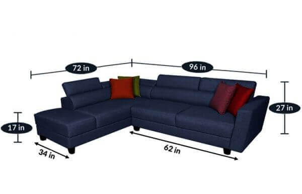 Elite Sofa with Adjustable Headrest size