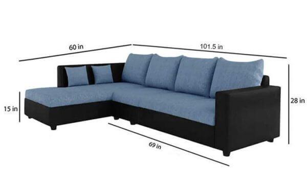 Lavis L Shape Sofa Set sizes