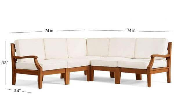 Outdoor Sofa Set with Teakwood 1