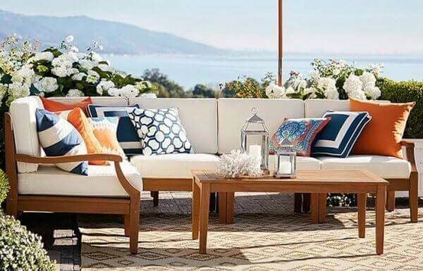 Outdoor Sofa Set with Teakwood