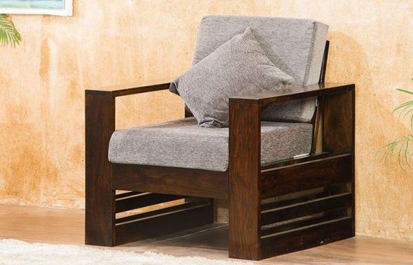 Teakwood Wooden one seater Sofa Set