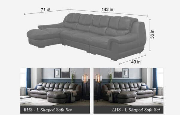 Zamia Five Seater L shape Elite Sofa size