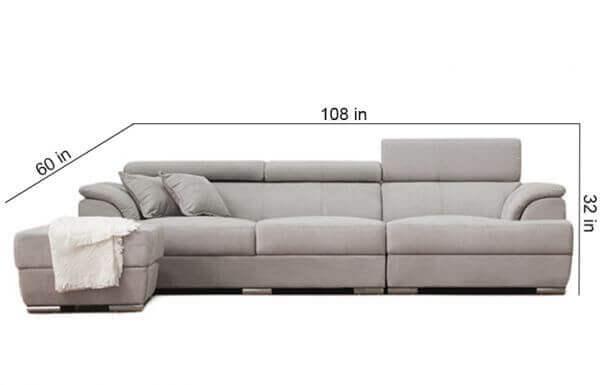 size of Elite Sofa with Ottoman